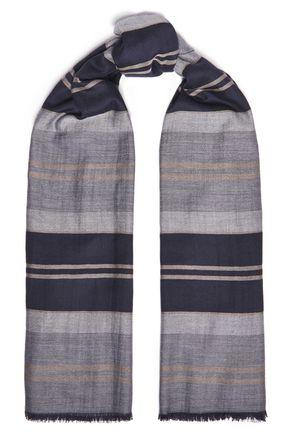 JOHNSTONS OF ELGIN Frayed striped cashmere scarf