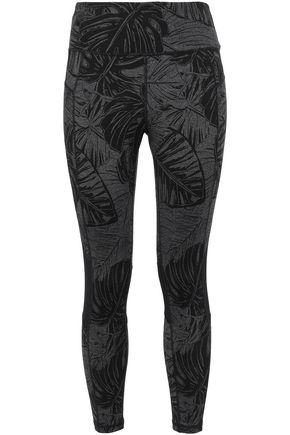 DKNY Cropped mesh-trimmed printed stretch-jersey leggings