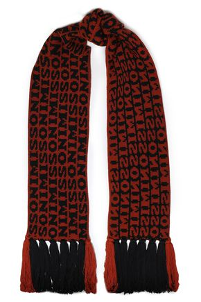 MISSONI Fringe-trimmed wool-jacquard scarf