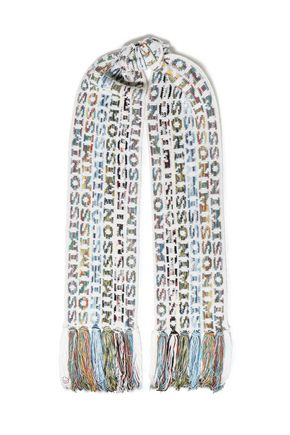 MISSONI Fringed intarsia wool-blend scarf