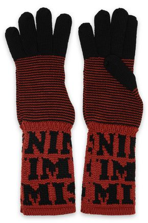 MISSONI Two-tone intarsia wool gloves
