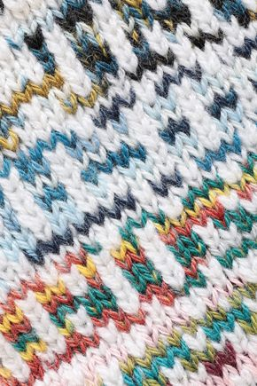 MISSONI Intarsia wool and cashmere-blend gloves