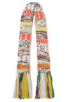 MISSONI Fringe-trimmed crochet-knit scarf