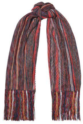 MISSONI Fringed metallic crochet-knit scarf