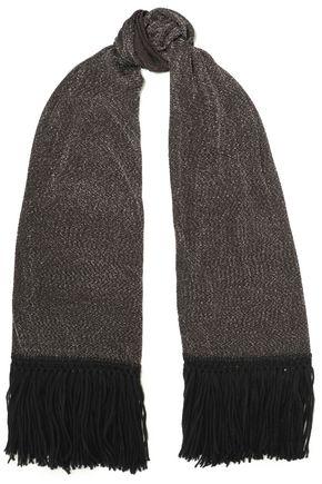 MISSONI フリンジ付き メタリックかぎ針編みニット スカーフ