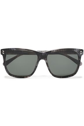 STELLA McCARTNEY Square-frame marbled acetate sunglasses