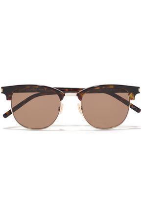 SAINT LAURENT D-frame gold-tone and tortoiseshell acetate sunglasses