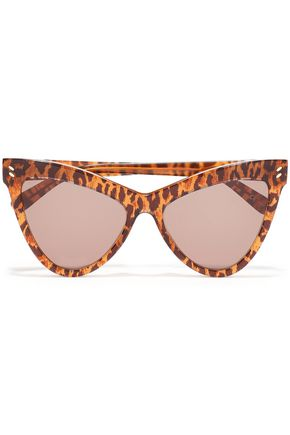STELLA McCARTNEY Cat-eye leopard-print acetate mirrored sunglasses
