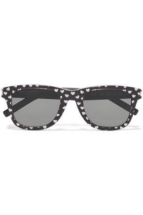 SAINT LAURENT D-frame metallic printed acetate sunglasses