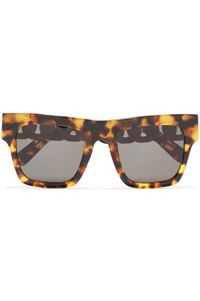 STELLA McCARTNEY Square-frame tortoiseshell acetate and silver-tone sunglasses