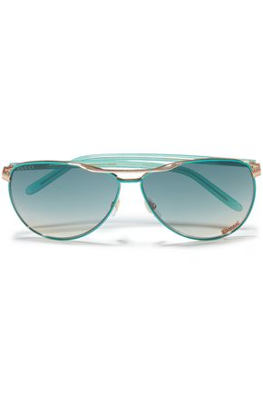 GUCCI Aviator-style rose gold-tone and acetate sunglasses