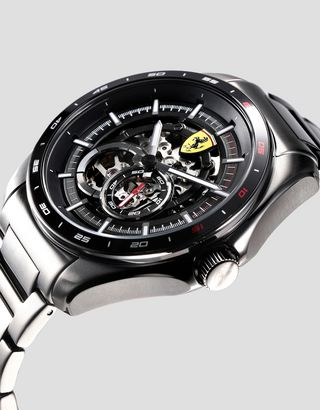 Scuderia Ferrari Online Store - Speedracer automatic watch with steel strap available exclusively in Ferrari Stores - Chrono Watches