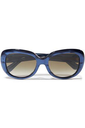 GUCCI Round-frame iridescent acetate sunglasses