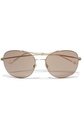 GUCCI Aviator-style gold-tone sunglasses