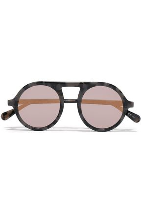 STELLA McCARTNEY Round-frame chain-trimmed marbled acetate mirrored sunglasses
