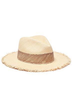 RAG & BONE قبعة باناما من القش مع حواف منسلة
