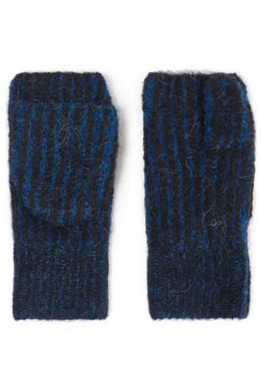 RAG & BONE Striped knitted mittens fingerless gloves