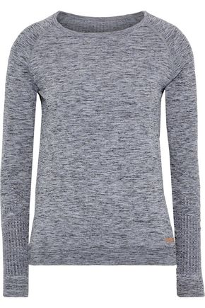 PEPPER & MAYNE Pointelle-trimmed mélange stretch-jersey top