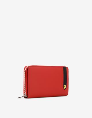Scuderia Ferrari Online Store - Evo Saffiano leather zip-around wallet - Zip-around Wallets