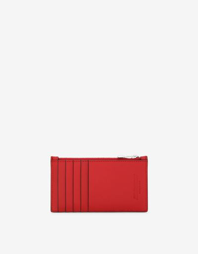 Zipped card holder in Saffiano leather made in Italy