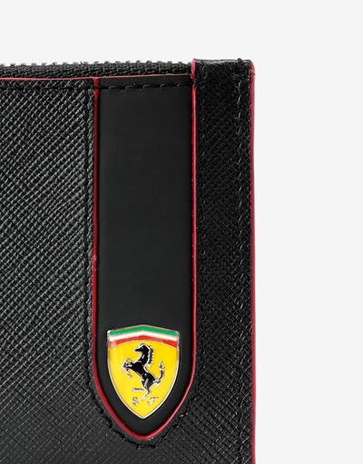 Scuderia Ferrari Online Store - Evo zipped card holder in Saffiano leather Made in Italy - Credit Card Holders