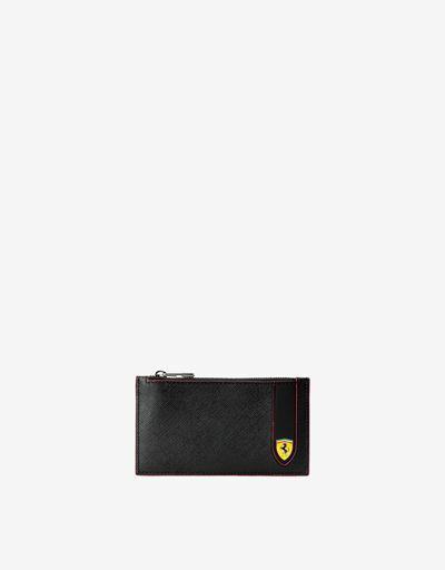 Evo zipped card holder in Saffiano leather Made in Italy