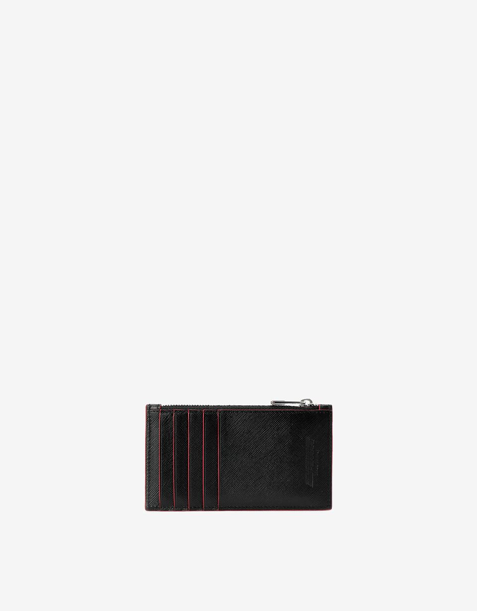 Scuderia Ferrari Online Store - Zipped card holder in Saffiano leather made in Italy - Credit Card Holders