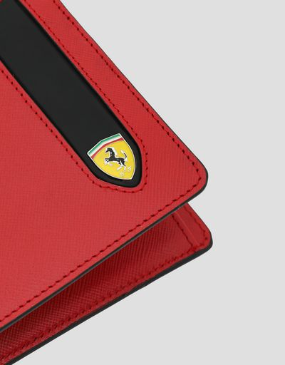 Scuderia Ferrari Online Store - Horizontal EVO Saffiano bi-fold wallet with change pocket - Horizontal with coin Wallets