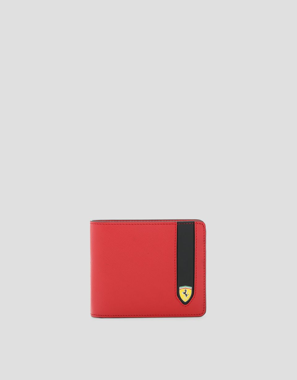 Scuderia Ferrari Online Store - EVO horizontal wallet in Saffiano leather with coin pocket - Horizontal with coin Wallets