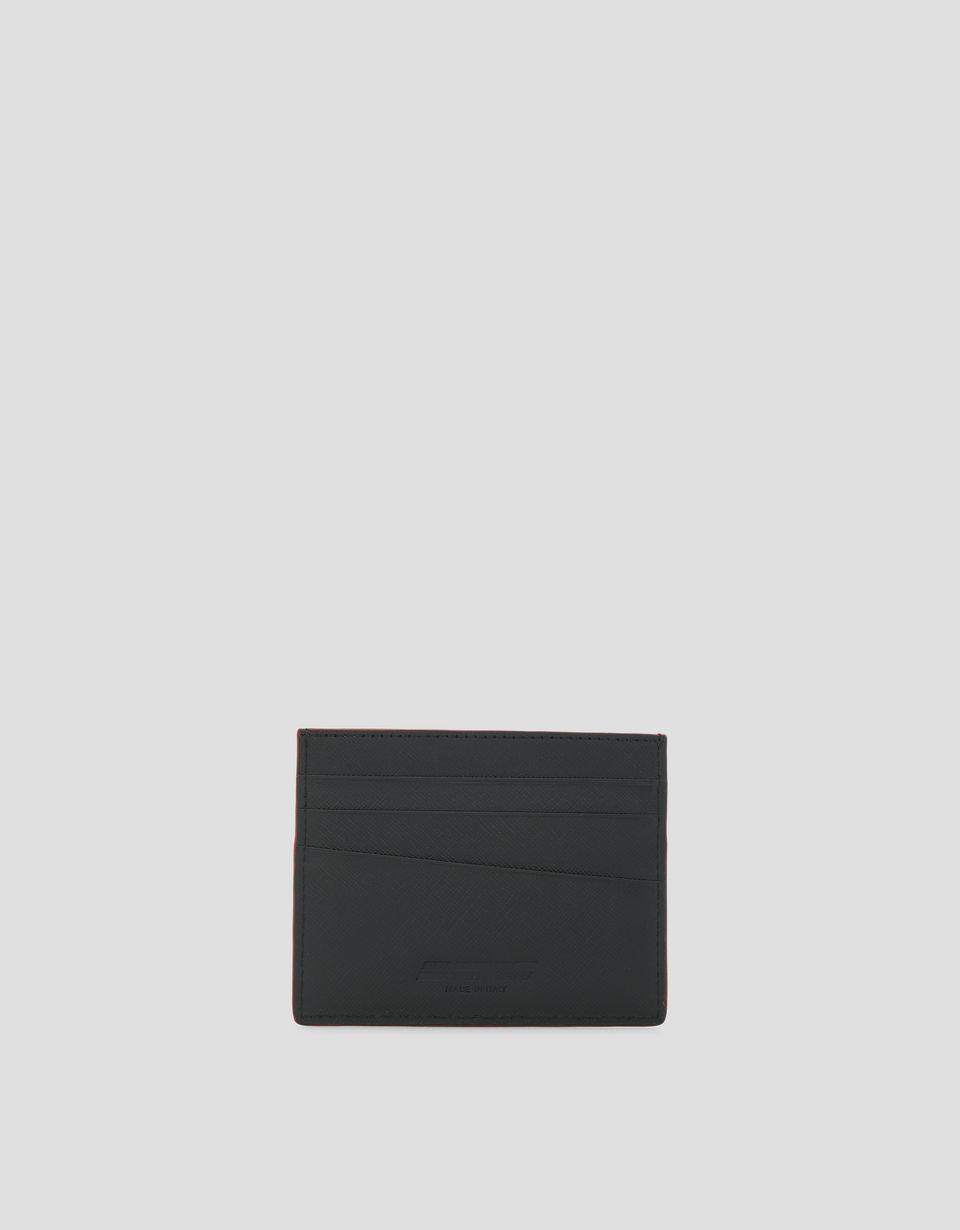 Scuderia Ferrari Online Store - Porta carte di credito in pelle Saffiano Made in Italy - Porta Carte di Credito