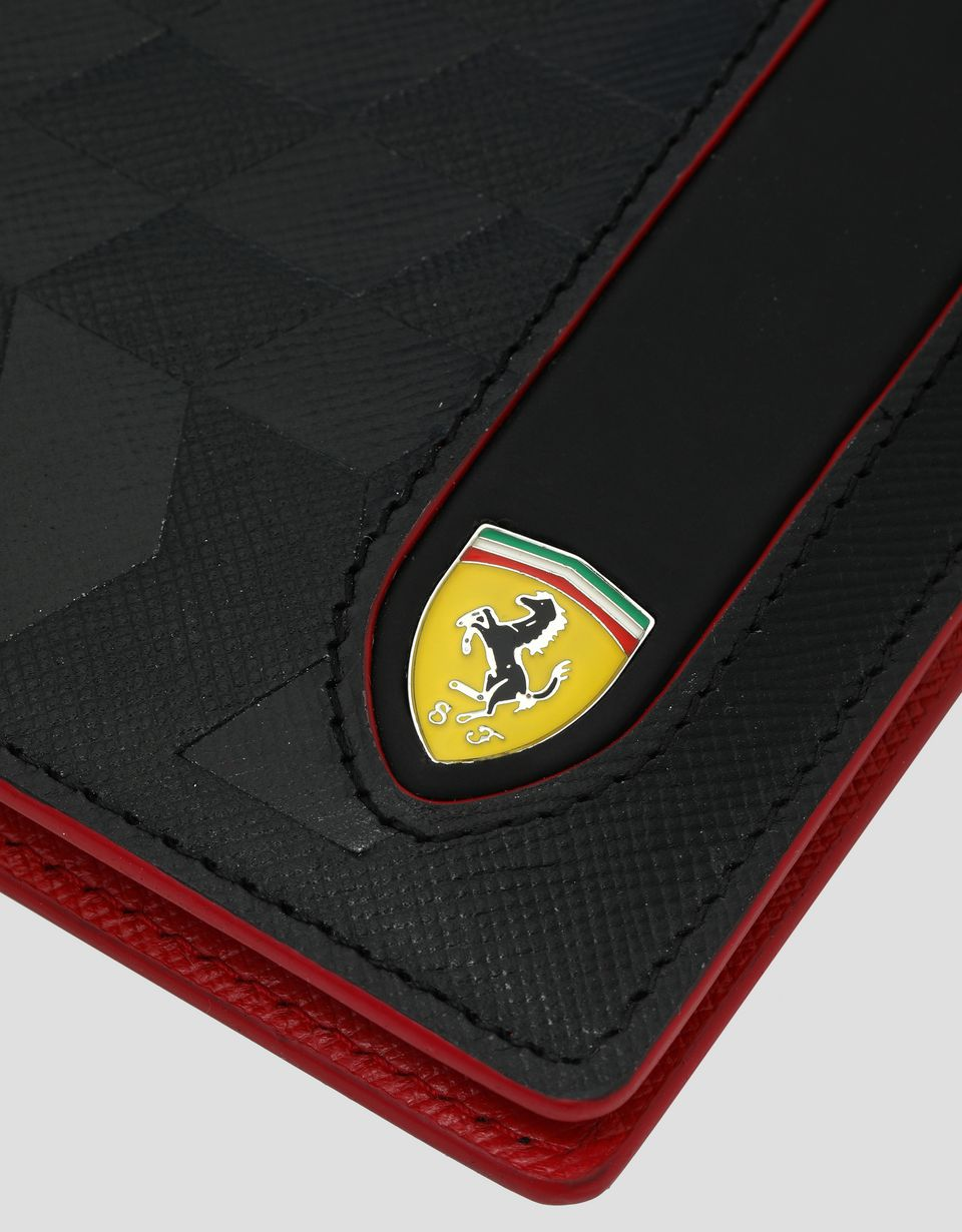 Scuderia Ferrari Online Store - Saffiano leather horizontal bi-fold wallet made in Italy - Horizontal Wallets