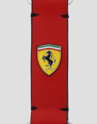 Scuderia Ferrari Online Store - EVO key ring in Saffiano leather with enamelled Shield - Keyholders