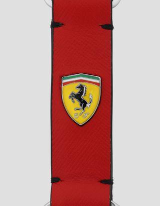 Scuderia Ferrari Online Store - Брелок для ключей EVO из сафьяновой кожи с эмалевой эмблемой Scudetto - Ключницы