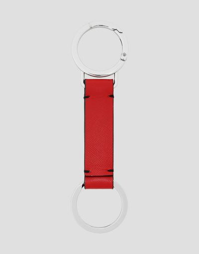 EVO key ring in Saffiano leather with enamelled Shield