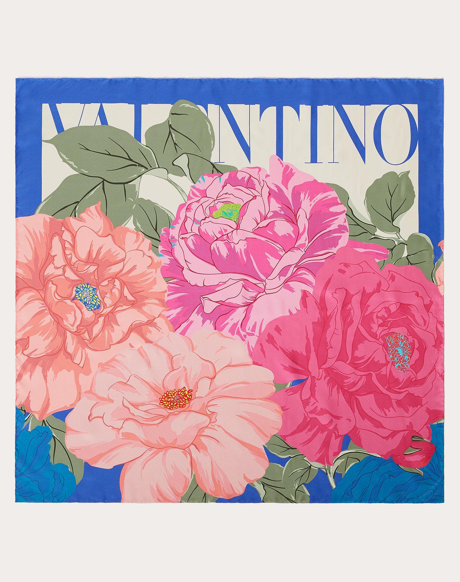 Flower print silk twill foulard 90x90 cm / 35.4x35.4 in.