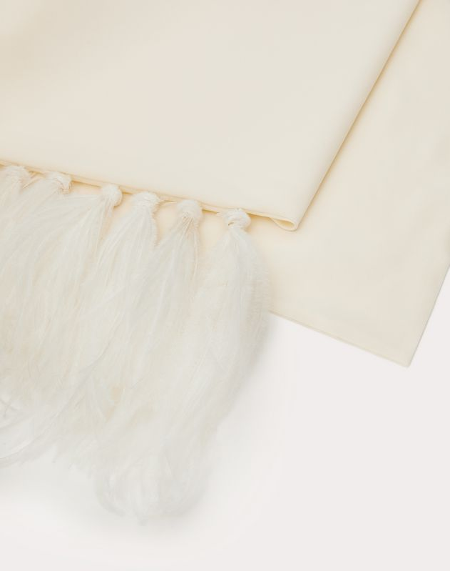 Silk bandeau scarf with feathers