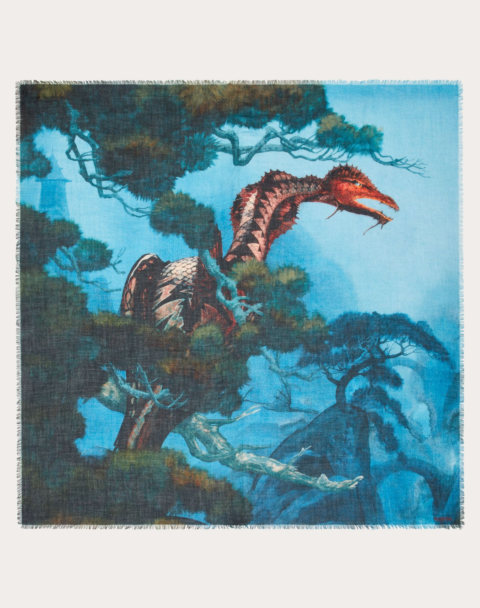 Scialle Dragon Garden in cachemire seta