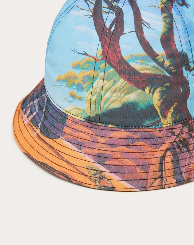 Floating Island and Yellow City Bucket Hat in Nylon