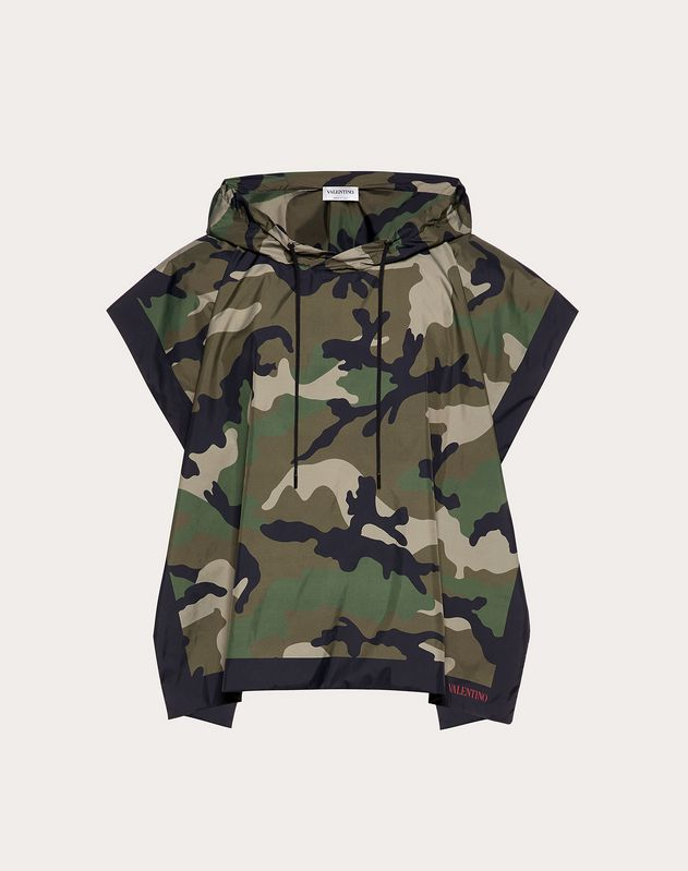 Nylon CAMOUFLAGE  hooded poncho