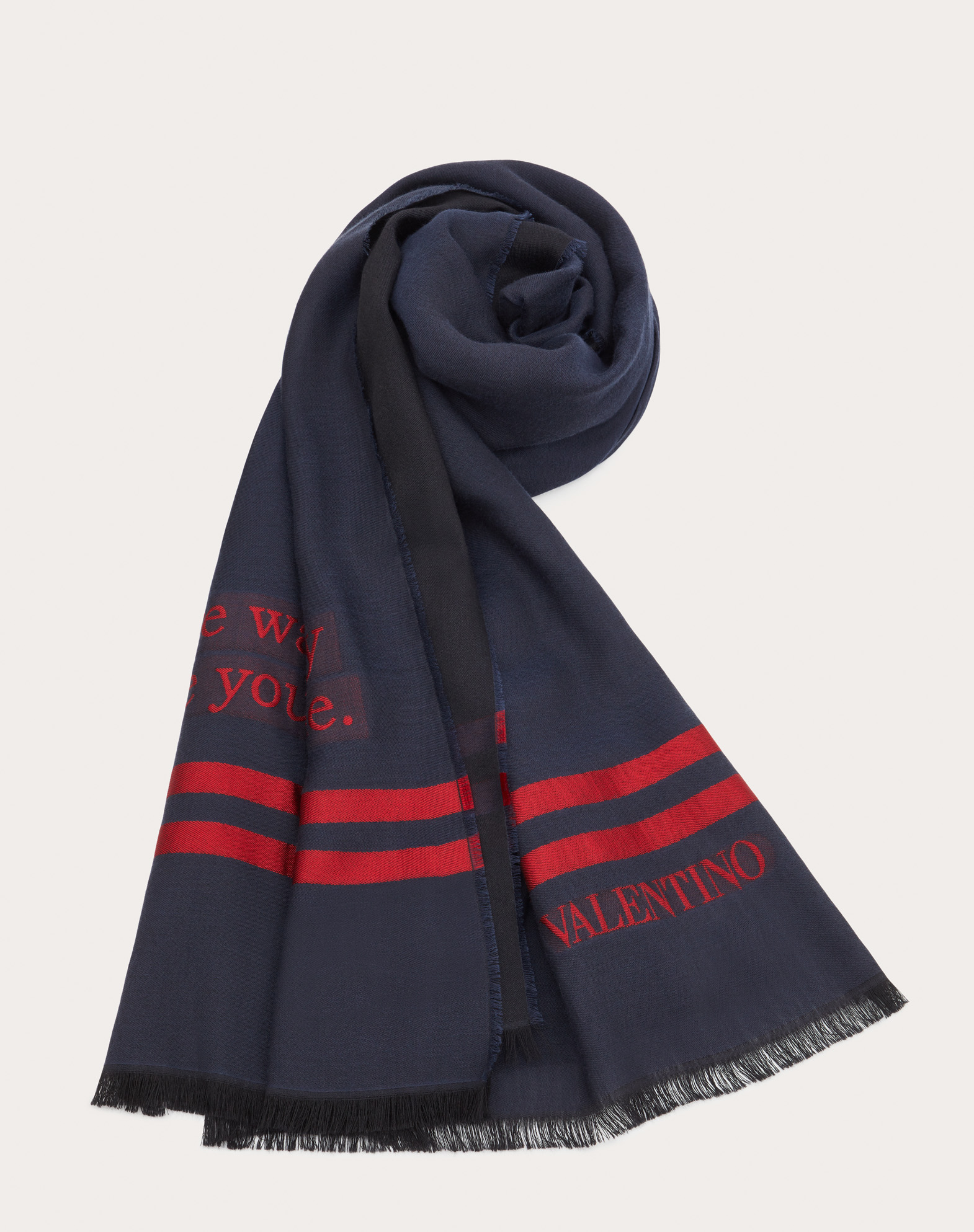 Valentino On Love Scarf in Wool, Cotton, and Silk