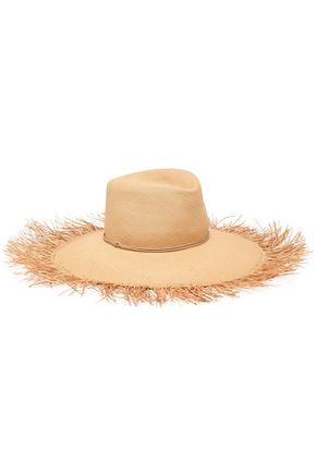 ZIMMERMANN Feather-embellished frayed straw sun hat
