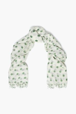 CHAN LUU ほつれ加工 ポルカドットカシミヤ&シルク混 スカーフ