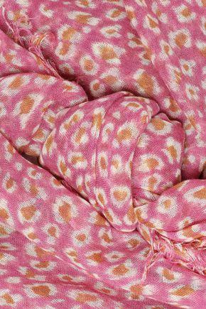 CHAN LUU Frayed leopard-print cashmere and silk-blend gauze scarf