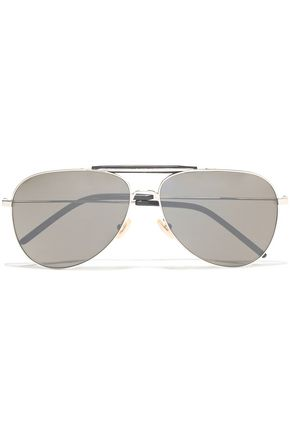 SAINT LAURENT Aviator-style acetate and silver-tone sunglasses