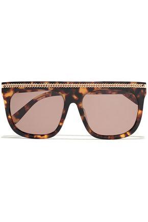 STELLA McCARTNEY Chain-embellished square-style tortoiseshell acetate sunglasses