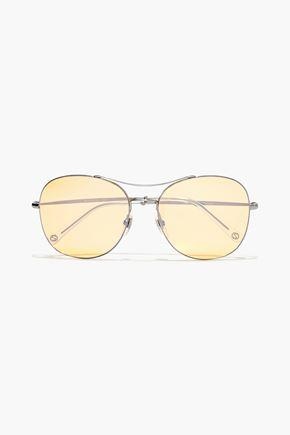 GUCCI Aviator-style silver-tone tinted sunglasses