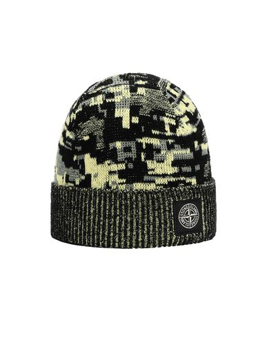 STONE ISLAND N01D6 MIXED YARNS TWISTED PIXEL CAMO Hat Man Black EUR 115
