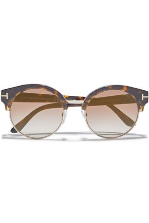 TOM FORD Alissa round-frame acetate and gold-tone sunglasses