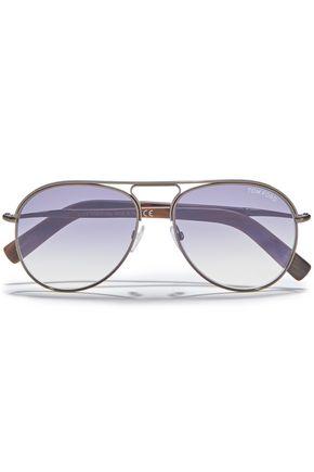 TOM FORD نظارات شمسية بأسلوب آفياتور باللون الرمادي الداكن