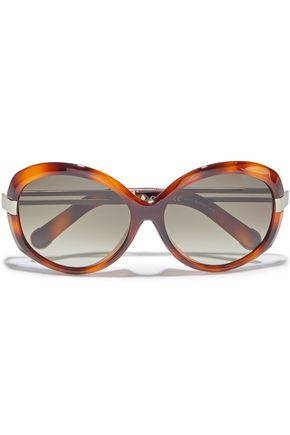 CHLOÉ Round-frame tortoiseshell acetate and gold-tone sunglasses